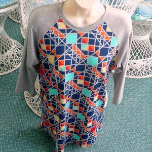 ❤️LuLaRoe Randy Top Gray Square, Diamonds Medium